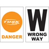 Tusk Course Marker Orange Danger and Wrong Way Sign