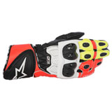 Alpinestars GP Plus R Leather Gloves Black/White/Yellow/Red