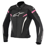 Alpinestars Women's Stella GP Plus R v2 Leather Jacket Black/White/Pink