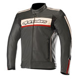 Alpinestars Dyno V2 Leather Jacket Black/Dark Grey/White/Red