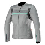 Alpinestars Women's Stella Dyno V2 Leather Jacket Grey/Aquamarine