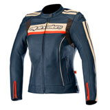 Alpinestars Women's Stella Dyno V2 Leather Jacket Navy/Red
