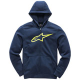 Alpinestars Youth Ageless Zip-Up Hooded Sweatshirt Navy/Hi-Vis