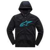 Alpinestars Ageless II Zip-Up Hooded Sweatshirt Black/Turquoise