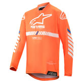 Alpinestars Youth Racer Tech Jersey Orange Fluo/White/Blue