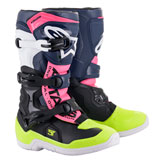 Alpinestars Youth Tech 3S Boots Black/Dark Blue/Pink Fluo