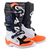 Alpinestars Youth Tech 7S Boots Black/White/Orange Fluo