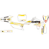 Attack Graphics Custom Alloy Complete Bike Graphics Kit White/RM Yellow