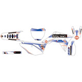 Attack Graphics Custom Alloy Complete Bike Graphics Kit White/WORCS Blue