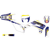 Attack Graphics Custom Blitz Complete Bike Graphics Kit White/YZ Blue