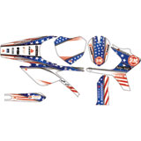 Attack Graphics Custom Freedom Complete Bike Graphics Kit White/Red/Blue