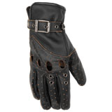 Black Brand Women's Vintage Venom Leather Motorcycle Gloves