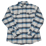 Factory Effex Yamaha 2.0 Flannel Long Sleeve Button Up Shirt Grey/Blue