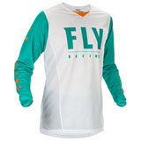 Fly Racing Kinetic Mesh 20.5 Jersey White/Teal/Orange
