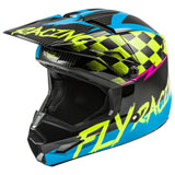 Fly Racing Youth Kinetic Sketch Helmet Blue/Hi-Vis/Black/Pink
