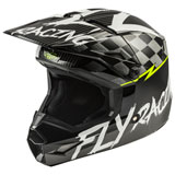 Fly Racing Youth Kinetic Sketch Helmet Matte Black/White/Hi-Vis