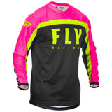 Fly Racing Youth F-16 Jersey Neon Pink/Black/Hi-Vis