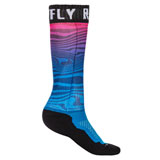 Fly Racing Thin MX Pro Socks Blue/Pink/Black