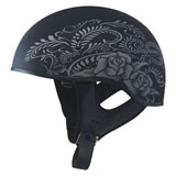 GMax GM65 Naked Rose Half Helmet Flat Black/Silver
