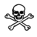 Hot Leathers Helmet Sticker - Skull & Bones