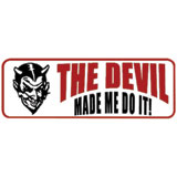 "Hot Leathers Helmet Sticker - ""The Devil Made Me Do It!"""