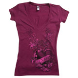 Hot Leathers Lets Ride Heart and Flowers Ladies V-Neck T-Shirt