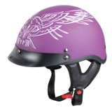 Hot Leathers Women's Shorty Style Pinstripe Upwing Half-Face Helmet