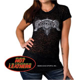 Hot Leathers Asphalt Angel Burnout Ladies T-Shirt