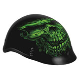 Hot Leathers Shorty Style Skull Half-Face Motorcycle Helmet