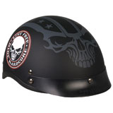 Hot Leathers Shorty Style Stencil Skull Half-Face Motorcycle Helmet
