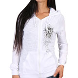 Hot Leathers Women's Sugar Skull Slubby Zip-Up Hooded Sweatshirt