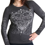 Hot Leathers Women's Silver Heart Long Sleeve T-Shirt