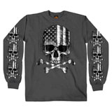 Hot Leathers Flag Skull Long Sleeve T-Shirt