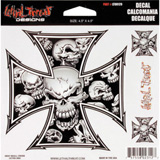 Lethal Threat® Grey Skull Cross Decal