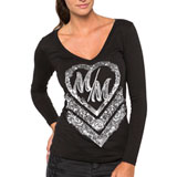 Metal Mulisha Cross My Heart Ladies Long Sleeve T-Shirt