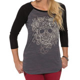 Metal Mulisha Rose Skull Ladies Raglan T-Shirt