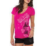 Metal Mulisha Dani G Cherry Blossom Ladies V-Neck T-Shirt