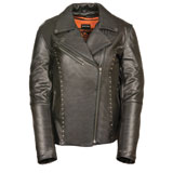Milwaukee Leather Rivited Classic Ladies Leather Motorcycle Jacket