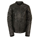 Milwaukee Leather Reflective Stars Ladies Leather Motorcycle Jacket