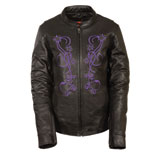 Milwaukee Leather Women's Reflective Stars Leather Jacket
