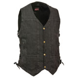 Milwaukee Leather 10 Pocket Side Lace Denim Motorcycle Vest