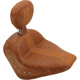 Mustang Studded Solo Motorcycle Seat with Driver Backrest