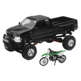 New Ray Die-Cast Black Ford F-350 4x4 with Kawasaki Dirt Bike
