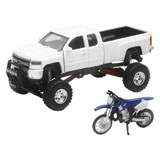 New Ray Die-Cast White Chevy Silverado 4x4 with Yamaha Dirt Bike