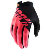 100% iTRACK Gloves Black/Fluo Red