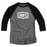 100% Essential 3/4 Sleeve Tech T-Shirt Grey/Black