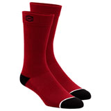 100% Solid Casual Socks Red