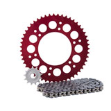 Primary Drive Alloy Kit & X-Ring Chain Red Rear Sprocket