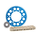 Primary Drive Alloy Kit & Gold X-Ring Chain Blue Rear Sprocket