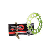 Primary Drive Alloy Kit & Gold X-Ring Chain Green Rear Sprocket